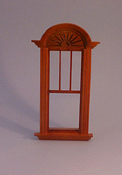 "Majestic Mansions 1"" Scale Miniature Walnut Newport Decorated Single Window"