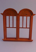 "Majestic Mansions 1"" Scale Miniature Walnut Newport Decorated Double Window"