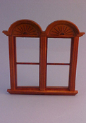 "Majestic Mansions 1"" Scale Miniature Walnut Newport Plain Double Window"