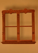 "Majestic Mansions 1"" Scale Miniature Mc Allister Walnut Carved Double Window"