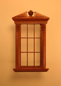 "Majestic Mansions 1"" Scale Miniature Walnut Corinthian Carved Single Window"