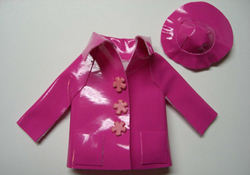 "By Barb 1"" Scale Child's Pink Hat and Rain Coat"