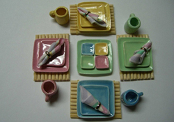 "1"" Scale Hand Crafted Pastel Square Dinner Set"