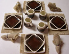 "1"" Scale Hand Crafted Brown With White Rim Square Dinner Set"