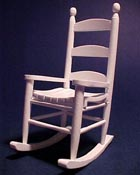 "1"" Scale White Ladder Back Rocker"