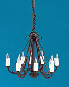 "1"" Scale Miniature Wrought Iron Ten Arm Chandelier"