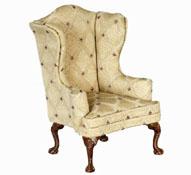 "Platinum Collection 1"" Scale Gold High Back Walnut Wing Chair"