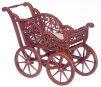 """Platinum Collection 1"""" scale Walnut Carved Baby Carriage"""