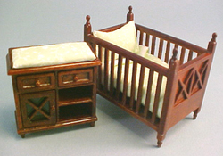 "Lee's Line 1/2"" Scale Spice Crib and Changing Table Set"