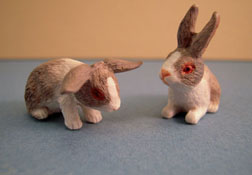 "1"" Scale Two Piece Light Gray Bunny Set"