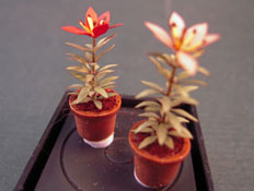 "Artistic Florals Hand Crafted 1/2"" Scale Set Of Two Potted Red Lilies"