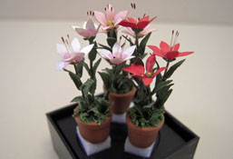 "Artistic Florals Hand Crafted 1/2"" Scale Set Of Three Potted Colorful Lilies"