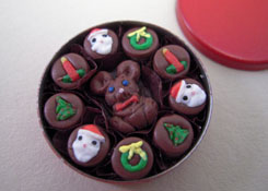 "Lola Originals 1"" Scale Hand Crafted Tin Of Christmas Chocolates"