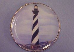 "By Barb 1"" Scale Decorative Cape Hatteres Lighthouse Plate"