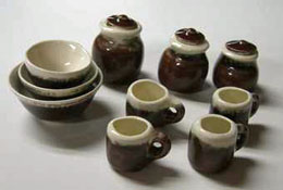"1"" Scale Miniature By Barb Brown and White Canister and Bowl Set"
