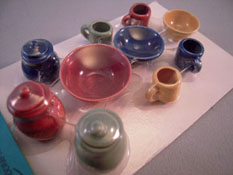 "1"" Scale Miniature By Barb Dark Fiesta Canister and Bowl Set"