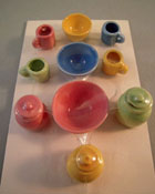 "1"" Scale Miniature By Barb Pastel Fiesta Canister and Bowl Set"