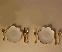 "1"" Scale White Place Setting For Two"