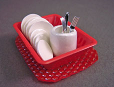 By Barb Red Dish Drain with Dishes 1:24