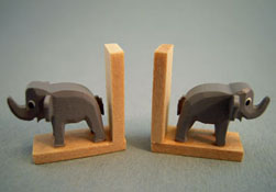 "Silvia Leiner 1"" Scale Miniature Wooden Elephant Bookends"