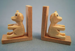 "Silvia Leiner 1"" Scale Miniature Wooden Bear Bookends"