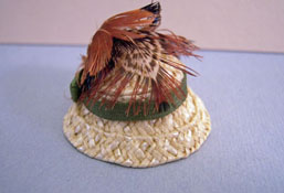 "Silvia Leiner 1"" Scale Miniature Natural Straw Hat with Feathers and Flowers"