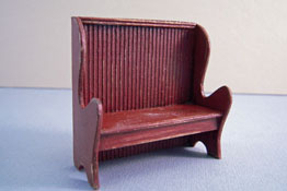 "CJ's Miniatures 1/2"" Scale Hand Crafted Antique Red Settle"