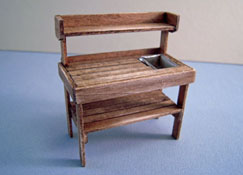 "CJ's Miniatures 1/2"" Scale Hand Crafted Antique Walnut Potting Bench"