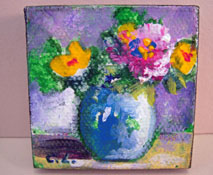 """Carol Landry Fine Art 1"""" Scale Original Pink and Yellow Flowers In A Vase Still Life Painting"""
