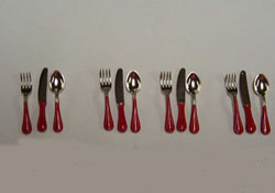 "1"" Scale Red Flatware Set"