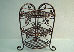 "1"" Scale Bright deLights Black Wrought Iron Corner Plant Stand"