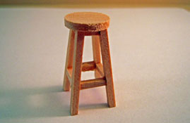 "M & M Specialties 1/2"" Scale Miniature Unfinished Bar Stool"