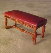 "Bespaq 1/2"" Scale Miniature Walnut Gallery Library Bench"