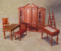"Bespaq 1/2"" Scale Miniature Eight Piece Walnut Gallery Library Set"