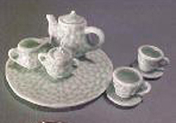 "1"" Scale Green Basket Weave Tea Set"