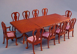 "John Baker 1/2"" Scale Walnut Extra Long Dining Set"