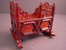 JBM Miniature Walnut Rocking Cradle 1:24