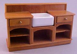 "John Baker 1/2"" Scale Miniature Golden Kitchen Sink Unit"
