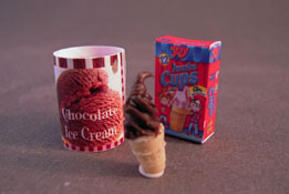 "1"" Scale Chocolate Ice Cream, Tub and Cups"