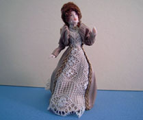 "Loretta Kasza Hand Crafted 1/2"" Scale Agnes In Brown Stripe & Lace Porcelain Doll"