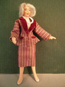 "Loretta Kasza 1/2"" Scale Contemporary Margaret In Bergundy Plaid Porcelain Doll"