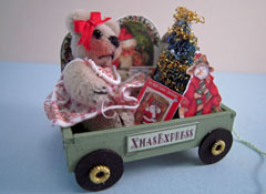 "Loretta Kasza Hand Crafted 1"" Scale Teddy Bear Christmas Wagon"