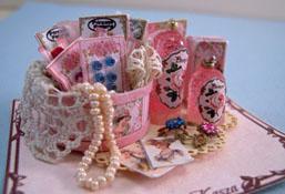 "Loretta Kasza 1"" Scale Hand Crafted Pink Vanity Display"