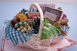 "1"" Scale Miniature Hand Crafted Loretta Kasza Filled Garden Basket"