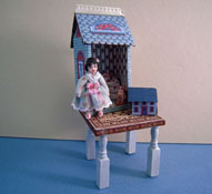 "1"" Scale Loretta Kasza Hand Crafted Darling Blue Dollhouse Table for your Dollhouse"