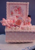 "Loretta Kasza 1"" Scale Miniature Hand Crafted Pink Baby Bath Box"