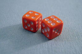 "1"" Scale Miniature Orange Dice"