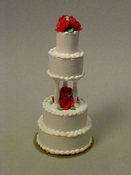 "1"" Scale Four Tier Rose Wedding Cake"