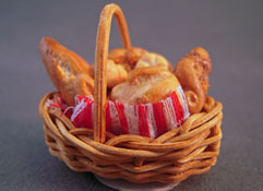 "MCM 1"" Scale Hand Crafted Bread in a Woven Basket"
