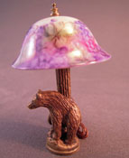 "1"" Scale Fabulous Ni Glo Bear Table Lamp With A Purple Grape Shade"